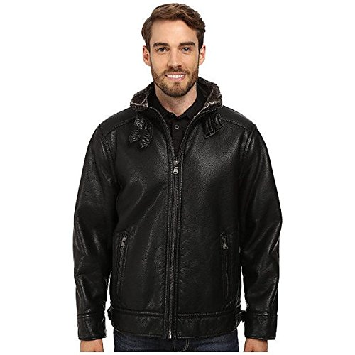 (カルバンクライン) Calvin Klein メンズ アウター ジャケット Pebble Faux-Leather Moto Jacket with Faux-Shearling 並行輸入品