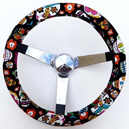 Mana Trading Handmade Steering Wheel Cover Alegria Sugar Skulls (Steering Wheel Cover Sugar Skull compare prices)