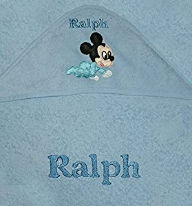 Disney Personalised 100% Cotton Baby Hooded Bath Towels (Mickey Mouse) (Blue)