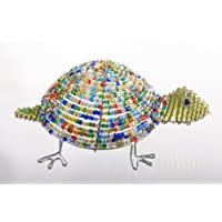African Tortoise Bead and Wire Sculpture