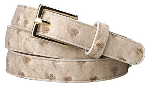 """Womens Square Buckle Color Ostrich Print Leather Skinny Belt (XL(37.5""""-43.5""""), Beige)"""