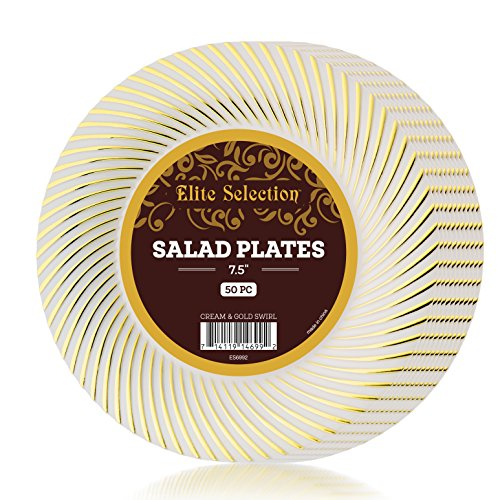 Elite Selection Pack Of 50 Salad Plates Cream Ivory Color With Gold Swirl 7.5-Inch