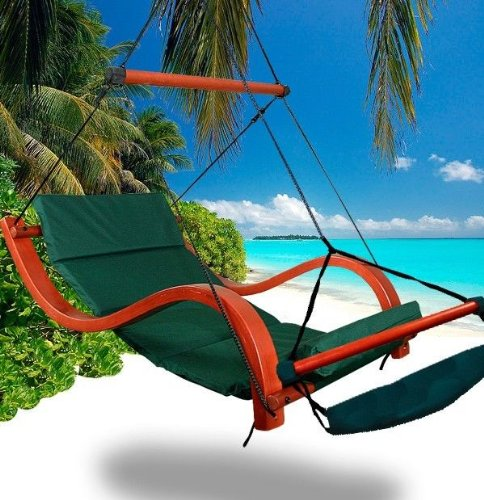 New Deluxe Patio Hanging Air Padded Swing Lounger Hammock Chair - Green front-862914