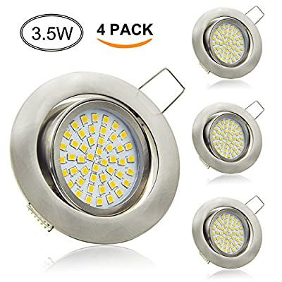 Aptoyu LED Recessed Downlights 3.5W 230V Spotlights Warmwhite Ultra Slim Spots Ceiling Lighting Pack of 4 units for Commercial Lighting or Home Lighting