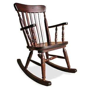 Sedia a dondolo in legno di pino tinto noce old river for Sedia a dondolo prezzi