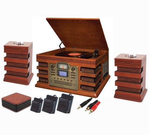 CORDLESS 5-IN-1 CD BURNER STEREO MUSIC SYSTEM - Player  &  Recorder: Records to CD, CD to CD, Cassette to CD, Radio to CD  &  Aux to CD! (Record your CD's  &  vinyl records onto a blank CD) - EDINBURGH NOSTALGIA WOOD RETRO TURNTABLE MUSIC CENTRE - NEW Version with WIRELESS SPEAKERS - Real Wood Oak Colour Veneer