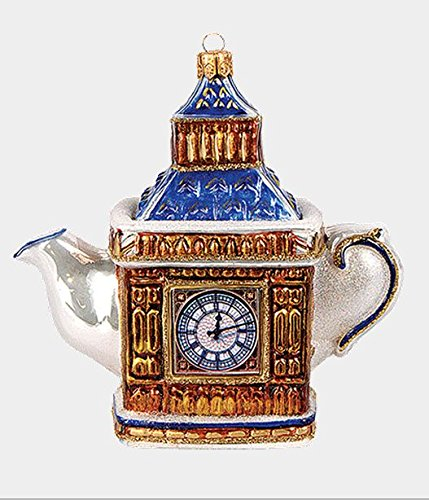 London England Big Ben Teapot Polish Glass Christmas Ornament Decoration