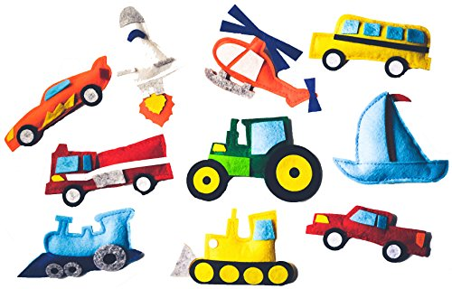 Fridge-Magnetic-Felt-Toy-10-Piece-Play-Set-Transportation-Vehicles-Tractor-Helicopter-Imaginative