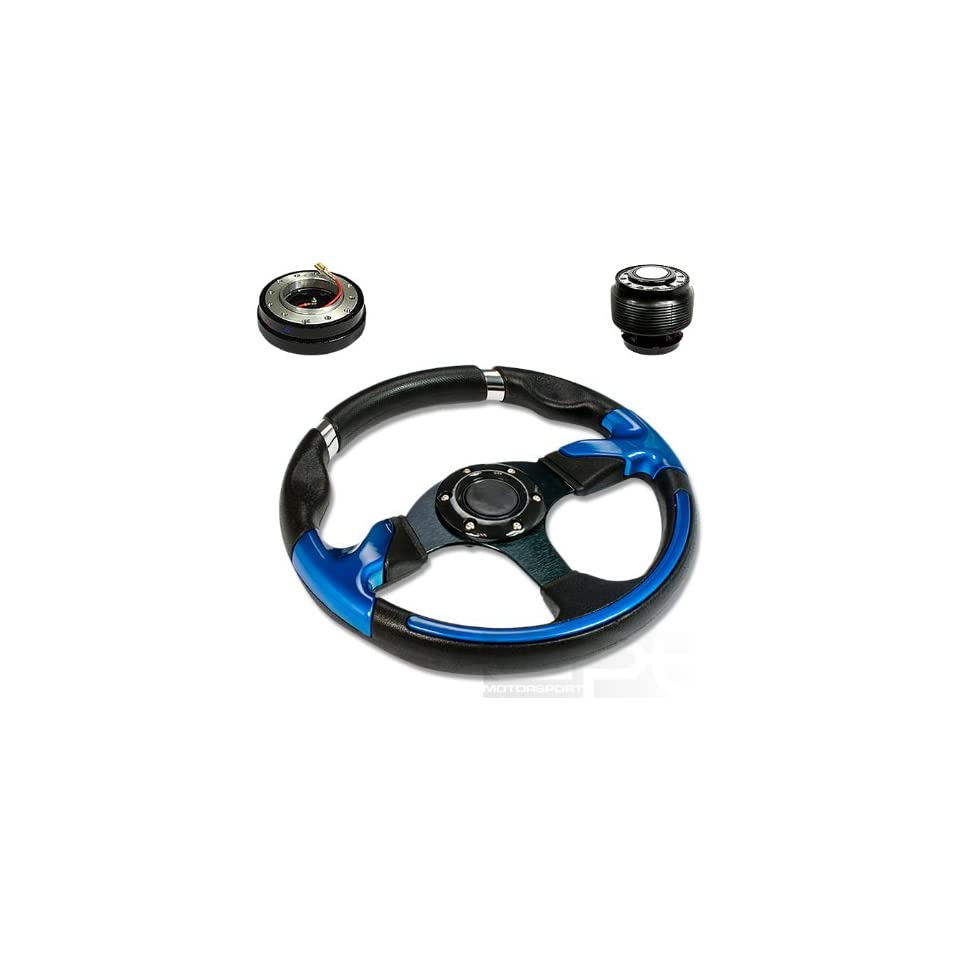 """SW T370+HUB OH124+QL 2, 320mm 12.5"""" Black PVC Leather Blue Trim Black Spoke 6 Hole Racing Aluminum Steering Wheel with OH124 Short Hub Adapter and 2"""" Slim Quick Release with Horn Button Automotive"""