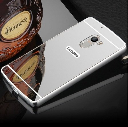 AE (TM) Luxury Metal Bumper + Acrylic Mirror Back Cover Case For Lenovo A7010 / Lenovo K4 Note - SILVER