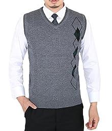 Wantdo Men\'s Business Sweater Vest US Medium Dark Grey