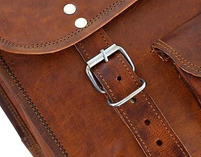 """Gusti Cuir nature """"Alex 11"""" sac notebook 11,6"""" sac bandoulière sac porté épaule besace cuir véritable sacoche business notebook ordinateur portable taille moyenne marron foncé M7"""