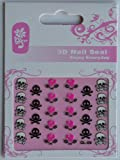 GGSELL GGSELL GL Stereoscopic 3D nail art nail decals nail stickers black and white and pink skull with weapon