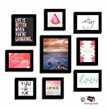 Art Street Set of 9 Quirky Quote Photo frames - Love and Laughter theme wall quote