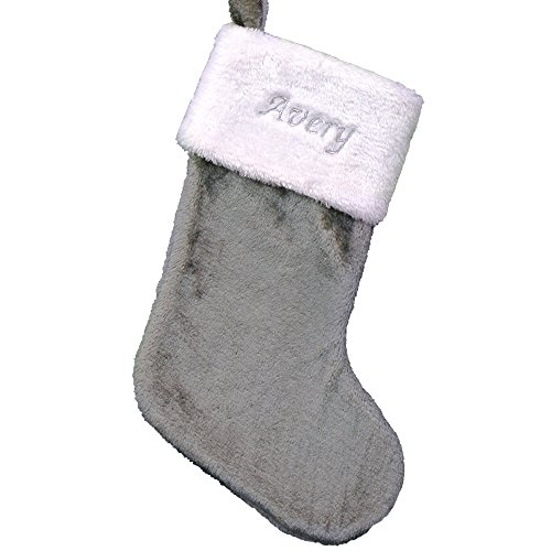 Embroidered Gray Plush Stocking, 19