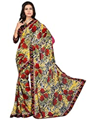 Attractive Floral Printed Faux Georgette Saree - B00PZLWK7A