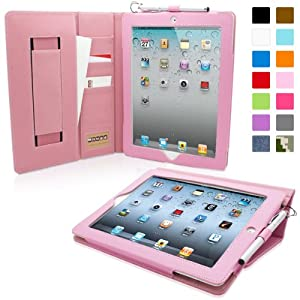 Snugg iPad 2 Case - Executive Smart Cover With Card Slots & Lifetime Guarantee (Candy Pink Leather) for Apple iPad 2