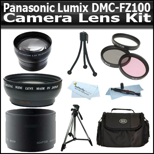 2x Telephoto and .45x Wide Angle Lens Kit For Panasonic Lumix DMC-FZ100 14.1 MP Digital Camera with Adapter Tube + (3) Filters + Case + Tripod + Accessory Kit