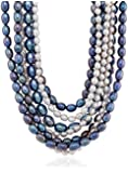 Multi-Color Freshwater Cultured Pearl with Silver Multi-Strand Clasp 7 Rows Nested Necklace, 18""