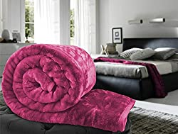 CLOTH FUSION Solid Color Ultra Silky Soft Heavy Duty Quality Indian Mink Blanket 6.6 lbs Double Rani Pink (Free shipping)
