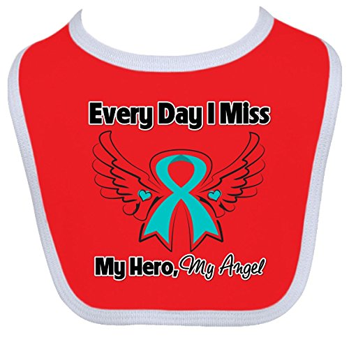 Inktastic Baby Boysâ€Tm Ovarian Cancer Every Day I Miss My Hero Baby Bib By Hdd One Size Red/White front-1044455