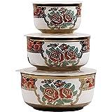 E'loisa Ceramic Serving Bowl With A Unique Floral Design - Set Of 3-PC-204