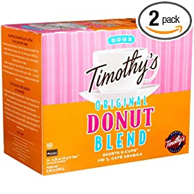 Timothy's World Coffee Original Donut Blend, K-Cups for Keurig Brewers, 24-Count K-Cups (Pack of 2)