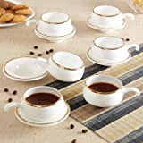 Famacart Tableware Serving White Coffee -Tea Cups Saucer Set 12 Pcs