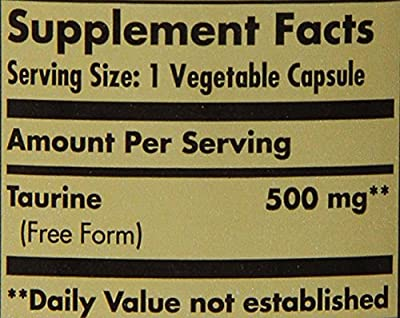 Solgar Taurine Vegetable Capsules, 500 mg, 100 Count