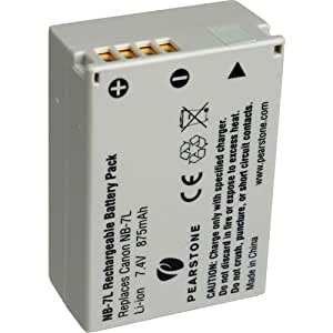Pearstone NB-7L Lithium-Ion Battery Pack (7.4V, 875mAh) -Replaces Canon NB-7L G12, G11 & G10, SX30