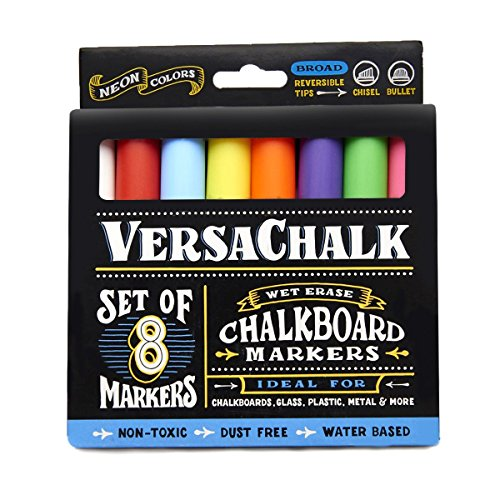 Chalkboard Chalk Markers by VersaChalk (8-Pack)| Dust Free, Water-Based, Non-Toxic | Wet Erase Chalk Ink Pens