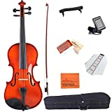 ADM 1/4 Size Handcrafted Solid Wood Student Acoustic Violin Starter Kits(Hard Case, Rosin, Shoulder Rest, Tuner, Violin Bow, Fingerboard Sticker), Red Brown