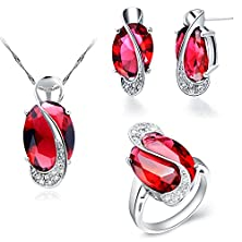 buy Floray Ladies Elegant Red Ruby Pendant Necklace And Stud Earring And Themed Ring Jewellery Set, Oval Gemstone, With Cubic Zirconia, Gold Plated, Sterling Silver Chain (Ring Size: 7)