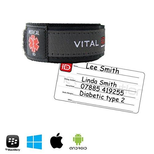 Medical ID da bambino Bracelet. & Medical ID Wristband by Vital ID. Waterproof. antistrappo 100% , età consigliata Store con contatti di emergenza, Medications, Next Kin. di etichette per Smartphone