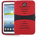[Rhino] TM Red Heavy Duty rugged impact Hybrid Case with Build In Kickstand Protective Case For Samsung Tablet Galaxy Tab 3 7.0-inch P3200