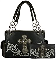 Montana West Purse Set- Satchel Handbag Faux Leather with Rhinestone Cross and Embroidered Design…