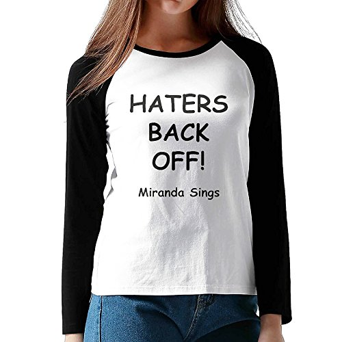 HROSE HATERS BACK OFF Women Baseball Athletic Raglan T-Shirt Top Medium