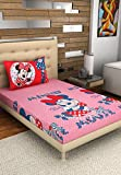 Bombay Dyeing Disney Classic Single Bedsheet with 1 Pillow Cover - Pink and Red