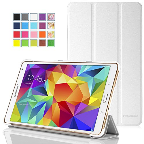 MoKo Samsung Galaxy Tab S 8.4 Case - Ultra Slim Lightweight Smart-shell Stand Cover Case for Samsung Galaxy Tab S 8.4 Inch Android Tablet, WHITE (Will NOT Fit tab pro 8.4) (With Smart Cover Auto Wake