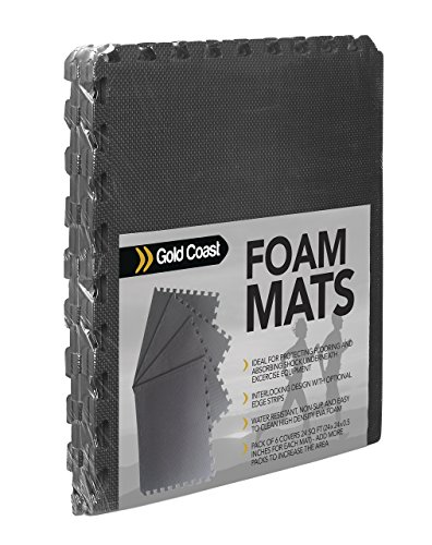 6 Gold Coast Interlocking Exercise Floor Tiles (24 sq FT) - EVA Foam Mats for Yoga, Home Gym, Free Weights, Pilates, Cardio & More