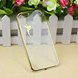 Suppion Transparent Hard Skin Case Cover For IPhone 5 5S (Gold)