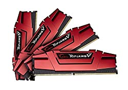 G.SKILL Ripjaws V Series F4-2400C15Q-32GVR 32 GB (8 GBx4) DDR4 2400 MHz C15 1.2 V Memory Kit - Blazing Red