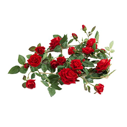 Red Rose Vine Artificial Silk Flowers Garland 5.4 feet Hanging Plant for Home Party Wedding Garden Decor 1 pack