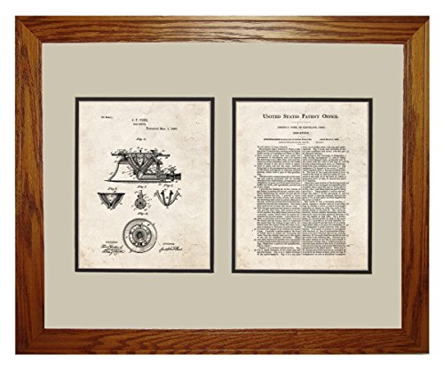 "Gas Stove Patent Art Old Look Print In A Honey Red Oak Wood Frame (16"" X 20"")"