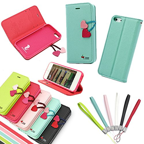 Pioneer Tech® Cherry Cute Flip Leather Wallet Stand Case Cover For Apple Iphone 5 5S - Ma (Tiffany)