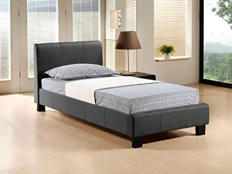 BRAND NEW 3ft PEBBLE GREY MODERN SINGLE FABRIC BED FRAME AND SLUMBER SLEEP VENUS SPRUNG MATTRESS