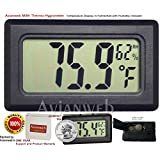 Avianweb Digital Thermo Hygrometer, Mini, Black