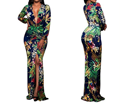 Sexycherry Women Deep V Elegant Long Sleeves Sexy Flower Floral Cocktail Maxi Party Dress