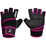 2-Fitness Womens Mens Fitness Weight Lifting Glove with Long Wrist Wrap Support