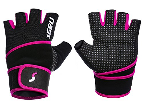 2-Fitness Womens Mens Fitness Weight Lifting Glove with Long Wrist Wrap Support Purple L